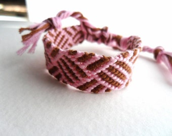 Pink and brown friendship bracelet