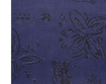 Linen  Fabric By the Yard Navy with Flowers Print #2