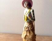 Vintage Art Deco Lady Whisk Hand Broom Half Doll,1920s Porcelain, Made In  Japan