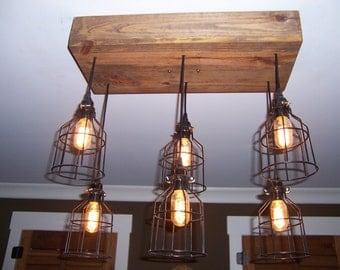 The Farmhouse- Industrial Cage Chandelier Light- Edison Bulb
