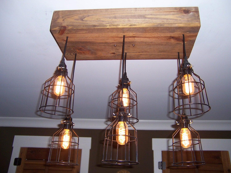The Farmhouse Industrial Cage Chandelier Light Edison Bulb