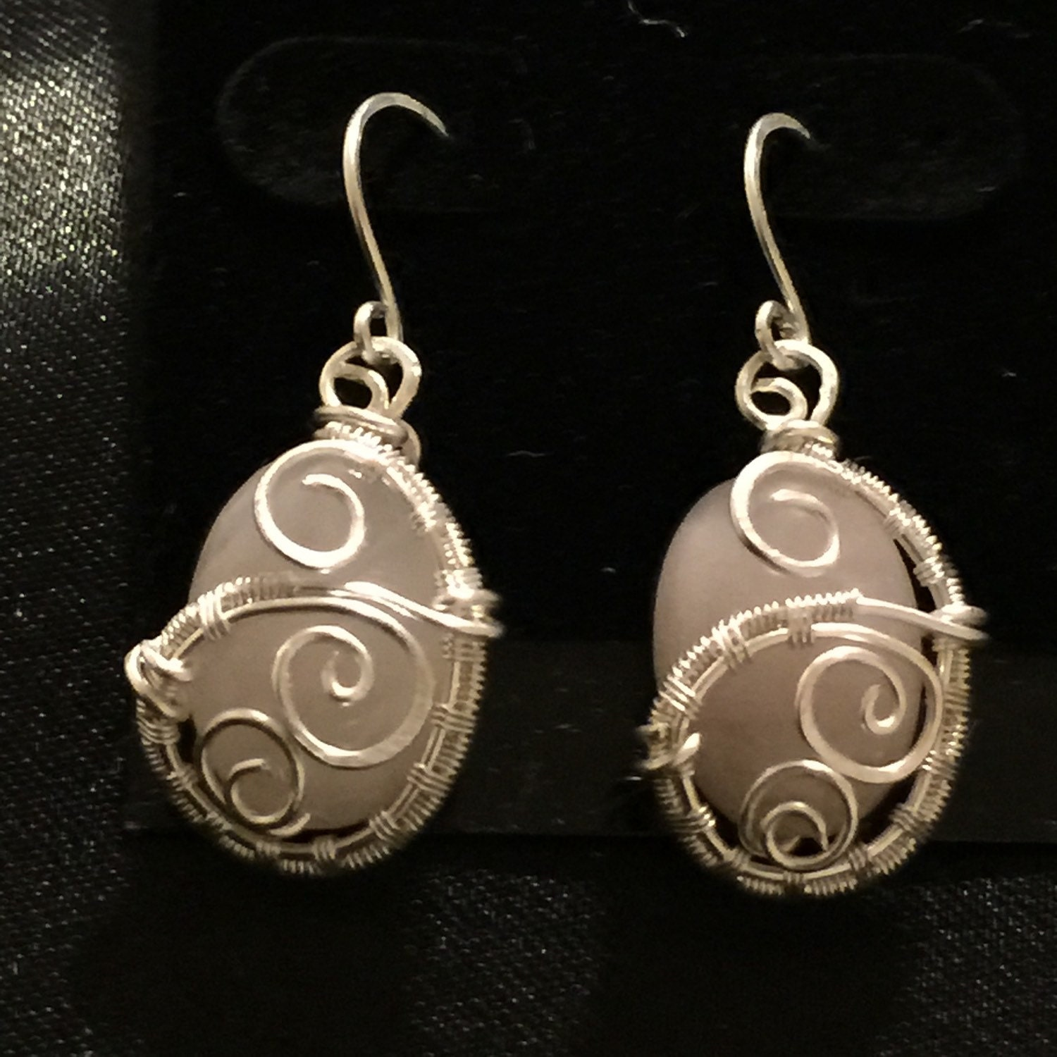 Custom Jewelry: Wire Wrapped Jewelry Handmade Rose Quartz Earrings Bead And