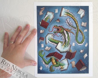 8.5x11 Book Dragon Art Print, Chinese Dragon Illustration, Asian Dragon Artwork, Fantasy Art, Book Lover Wall Art, Dragon with Magic Books