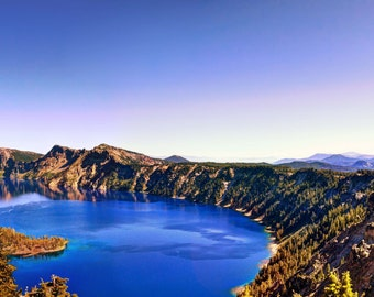Blue Lake Sunset photo, HDR photograph, Blue, green, purple, and brown, panoramic fine photography print, The Caldera's Edge