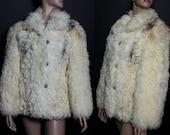 Vintage 1980s Curly Lamb Coat Real Fur Fur Jacket Garden Party Mad Man Blonde Fur Jacket Cocktail Party Femme Fatale