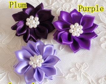 3 Handmade Ribbon Flowers (2.5inch) In Plum, Purple, Lavender MY- 273-04 Ready To Ship