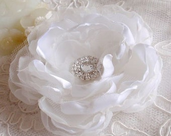 Larger Handmade Singed Flower With Rhinestone (3-3/4 inches) In White  MY-223 Ready To Ship