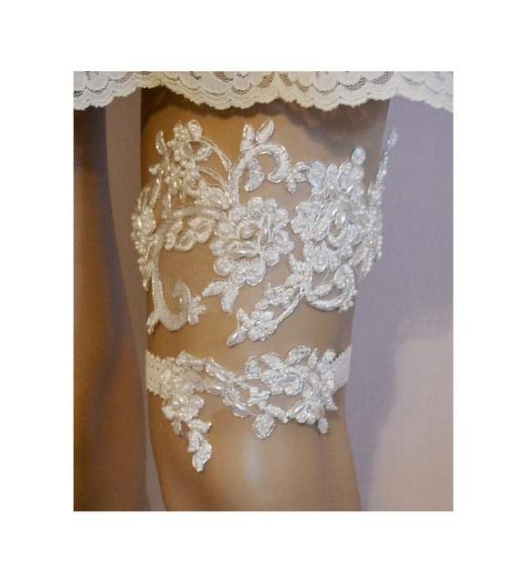 Beaded Lace Wedding Garter Set Unique Ivory By SpecialTouchBridal