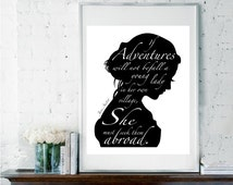 Jane Austen Quote, Inspirational Quote, Literary Print, Black & White Art, Dorm Room Decor, Leaving Gift, Gift for Daughter, Girly Gift