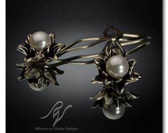 Lily Hairpins with 8mm Swarovski crystal pearl   Sterling Silver (set of 2)