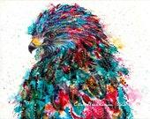 Hawk bird art print - hawk spirit animal, animal art, bird art print, colorful bird art, hawk totem art, bird art