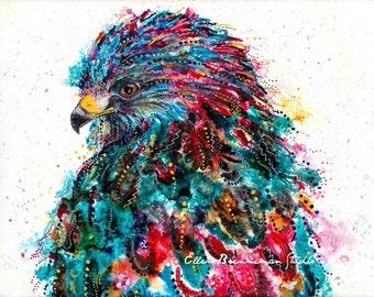 Hawk art print: hawk painting hawk artwork hawk gifts hawk spirit animal art hawk art print bird lover art gift