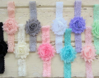 Pick Headband Colors & Quantity - Lace Headbands - Shabby Headbands -  Ivory Lace Headband, Pink Headband - Baby Girl Headband, Newborn Girl