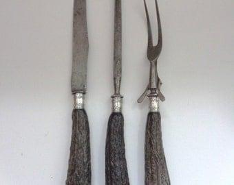 Vintage 3-piece Carving Set Sterling Silver & Stag Horn Antler Handles