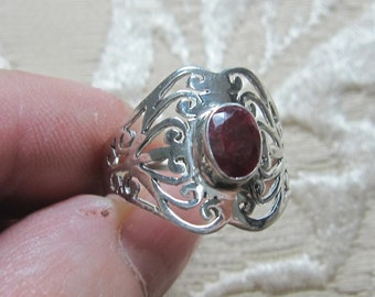 Faceted Ruby Filagree Sterling Silver Ring Size 9 1/2