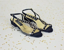 SALE clear sandals size 6.5 / transparent see through shoes / black and gold rhinestone heels / j renee shoes
