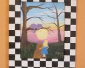 Alice and Cheshire Cat Acrylic Folk Art Painting