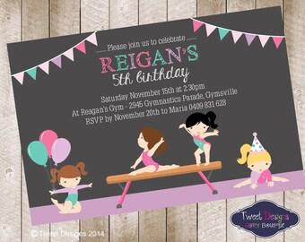 GYMNASTICS PARTY INVITATION, Printable Gymnastics Invitation, Gymnastic Party Invitation, Gymnastics Girl Party Invitation