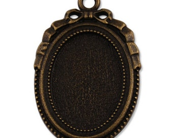 6 pcs of metal setting for 18x25mm cameo-7657- antique bronze
