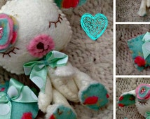Felt Lamb Collectable - Gingermelon Little Lullaby Lamb Made To Order Doll with Pillow