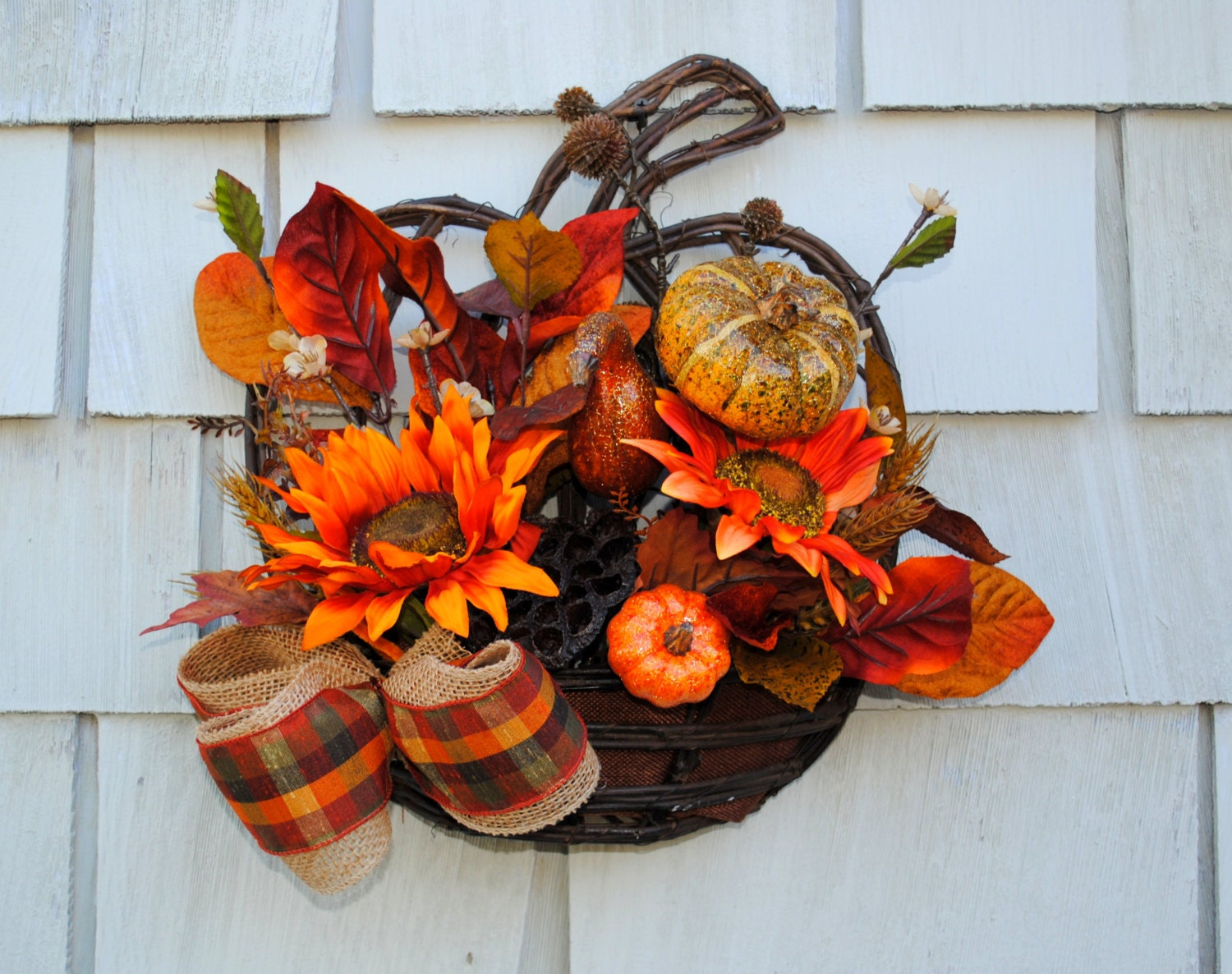 Fall Wreath Autumn Harvest Wreath For The Door Sale Hanging