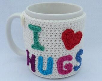 Valentines gift, Crochet mug cozy Cream crochet mug hug or mug warmer. Homewares, Birthday gift, Christmas gift, Valentines day