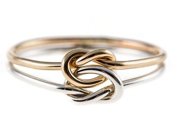 Double Knot Ring- Sterling Silver/14K Yellow Gold-filled