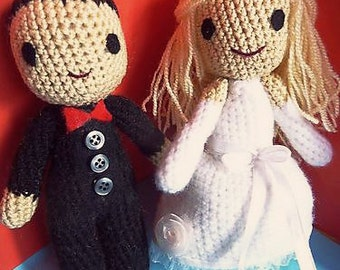 Custom WEDDING DOLLS - bride and groom amigurumi toys. Newlywed/soon to be married gift! Made on order! Valentine's day/anniversary crochet.