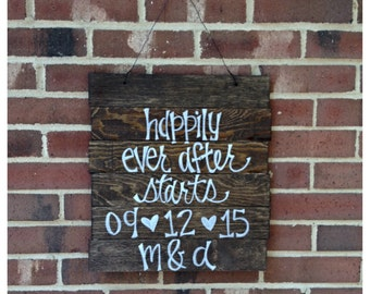 Happily Ever After Starts Here Save The Date Rustic Wooden Wedding Pallet Ceremony Seating Sign