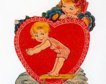 Vintage Sweet Little Diving Boy Child in Swim Suit Die-Cut Valentine Card Made in Germany 1930s