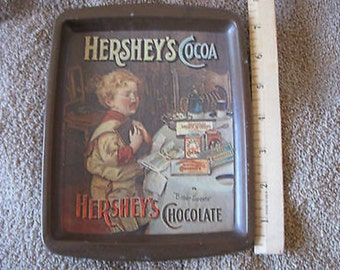 Vintage Hershey's Cocoa Metal Tray Bitter Sweets England 1982 CL30-23