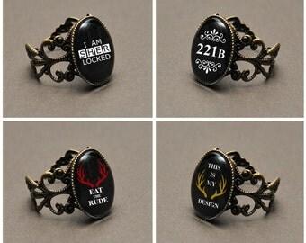 BBC Sherlock or Hannibal fandom ring – 221B – I Am Sherlocked – Eat The Rude – This Is My Design – cosplay jewelry / jewellery – fannibal