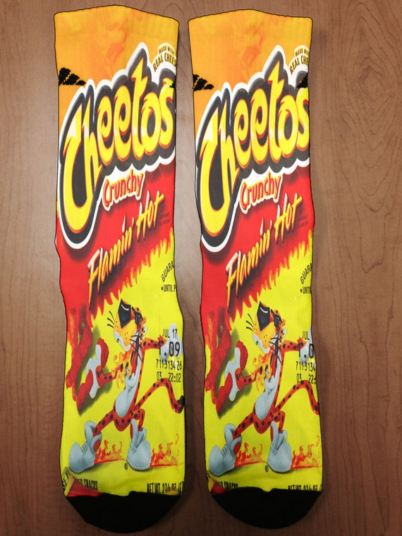 flaming hot cheetos socks by uprightapparel on etsy