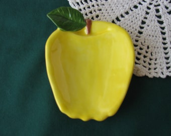 Yellow Apple Teabag Holder, Spoon Rest or Trinket Dish
