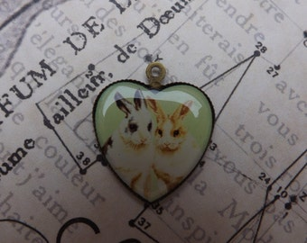 Rabbit pendant , charm , bunny, Easter, hares, rabbits,spring
