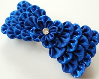 Kanzashi fabric flower french barrette.  Blue kanzashi barrette. Blue bow hair piece.