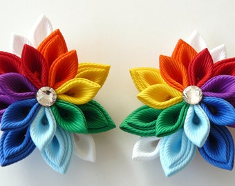 Kanzashi  Fabric Flowers. Set of 2 hair clips. Rainbow hair clips. Girls hair clips. Rainbow flowers. Rainbow hair piece