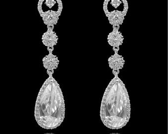 Vintage Bridal Dangle Teardrop Earring