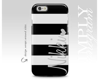 iPhone 7 Case, iPhone 6 Case, iPhone 8 Case, Personalized, iPhone 7 Plus Case, Samsung Galaxy Case, Monogram Case, Black Stripes, Galaxy S8