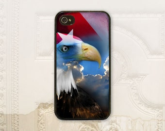 4th of July phone case iPhone 4 4S 5 5s 5C 6 6+ Plus, Samsung Galaxy s3 s4 s5 s6, Red white blue Patriotic phone case American eagle  H7020