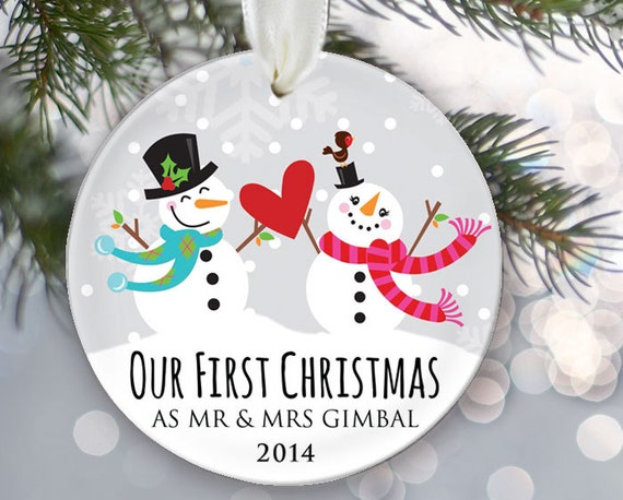 Our First Christmas as Mr & Mrs Personalized Christmas Ornament Just Married Christmas Ornament Snowman couple Name and Date OR264
