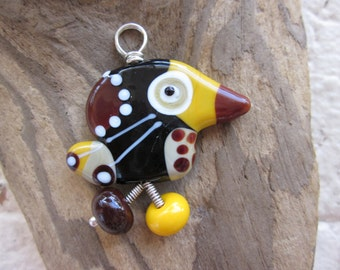 Brewmeister - Black and Brown Lucky Bird Lampwork Glass Pendant with Sterling Silver