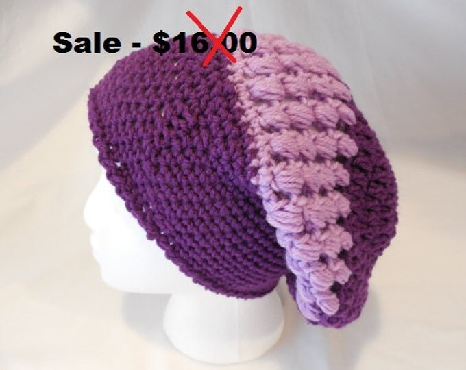 Purple Crochet Slouchy Hat - Crochet - Purple - Handmade - Ready to Ship - Reduced Price - Clearance - Ready to Ship