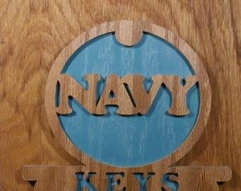 Navy Key Hanger Cut On Scroll Saw