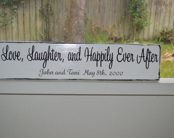 Love Laughter and Happily Ever After sign, Wedding Sign, Personalized Wedding Sign