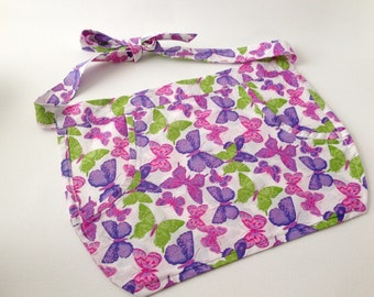Butterfly Apron, Handmade Apron, Child Apron, Purple and Pink, Half Apron, Spring Apron