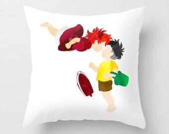 Studio Ghibli's Ponyo and Sosuke Pillow with insert
