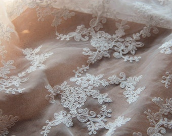 off white Embroidered Organza Lace Fabric, bridal lace fabric