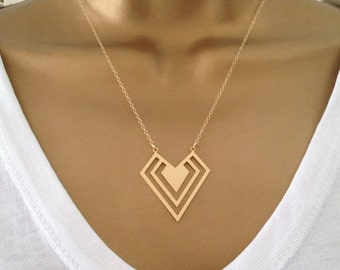 Geometric Necklace Gold Rose Gold Sterling Silver UK Shop  Mothers Day Gift Birthday Gift