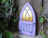 Violet Lavender Fairy Door Purple Rustic Reclaimed Wood Tooth Fairy Door Miniature Distressed Art Acrylic Painting
